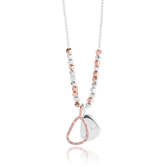 CACI - WISH - silver chain with rose gold pave charm and silver stamped charm - necklace