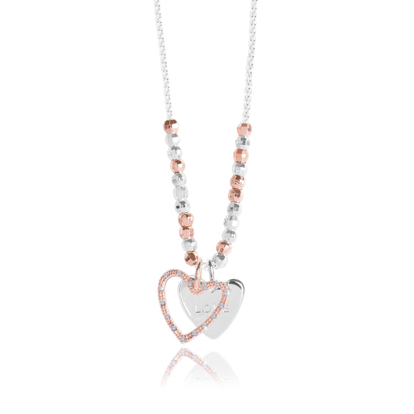 gifteasyonline - CACI - LOVE - silver chain with rose gold pave charm and silver stamped charm - necklace - Joma Jewellery - necklace