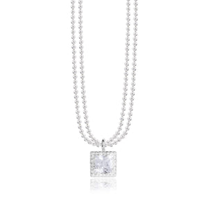 gifteasyonline - ESMEE - square cz charm on a silver double chain - necklace - Joma Jewellery - necklace