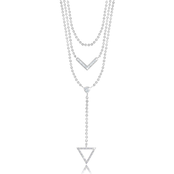 LEAH LARIAT - Triangle - three layer drop silver lariat