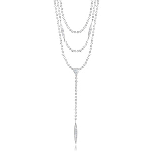 gifteasyonline - LEAH LARIAT - Bar - three layer drop silver lariat - Joma Jewellery - necklace