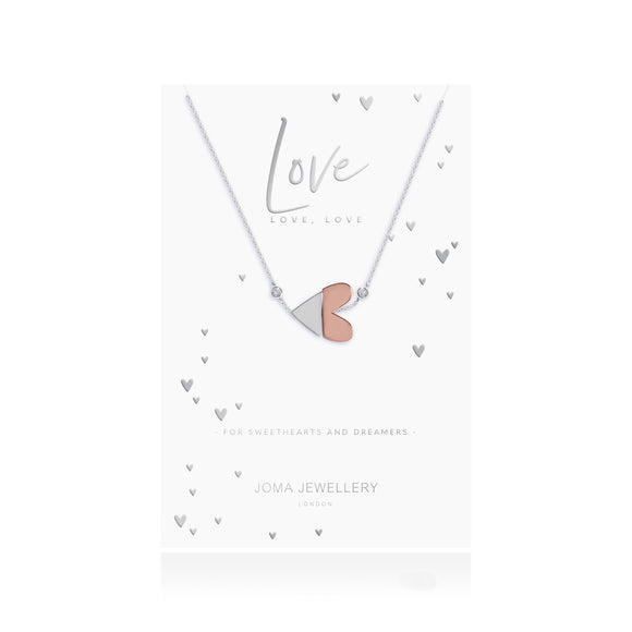 gifteasyonline - SPLIT - Live Love Laugh - silver and rose gold heart charm on a silver necklace with two clear cz - Joma Jewellery - necklace