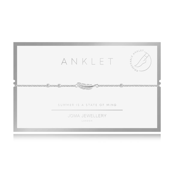 Joma Jewellery Anklet Silver Feather