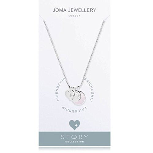 gifteasyonline - Joma Jewellery - Story - Friendship - Silver Necklace with Silver Disc and Pink Crystal Charms - Joma Jewellery - necklace
