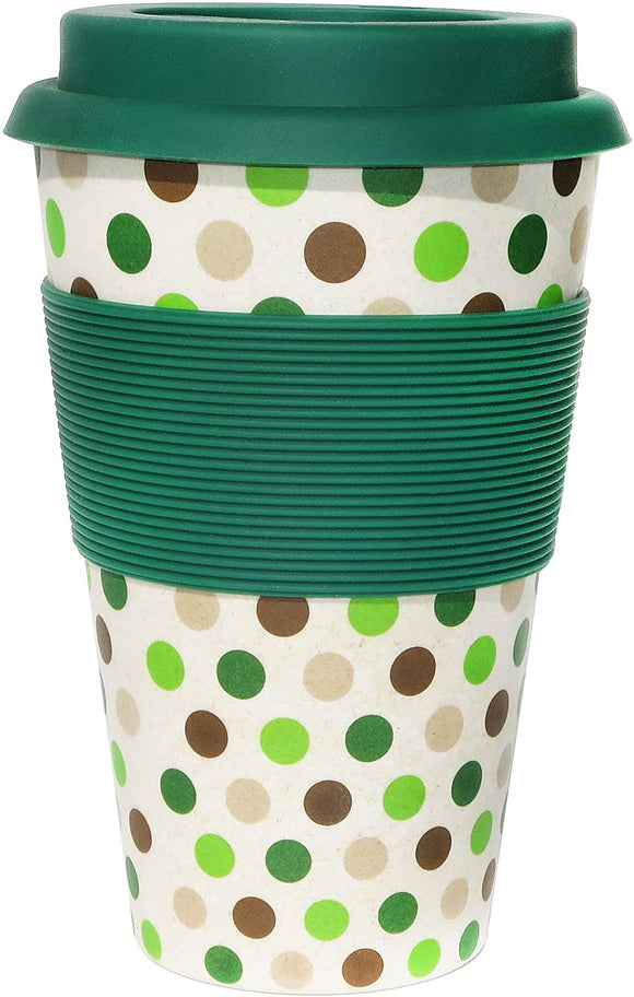 Ecoffee Cup: Green Polka with Green Silicone 14oz, Reusable and Eco Friendly Takeaway Coffee Cup