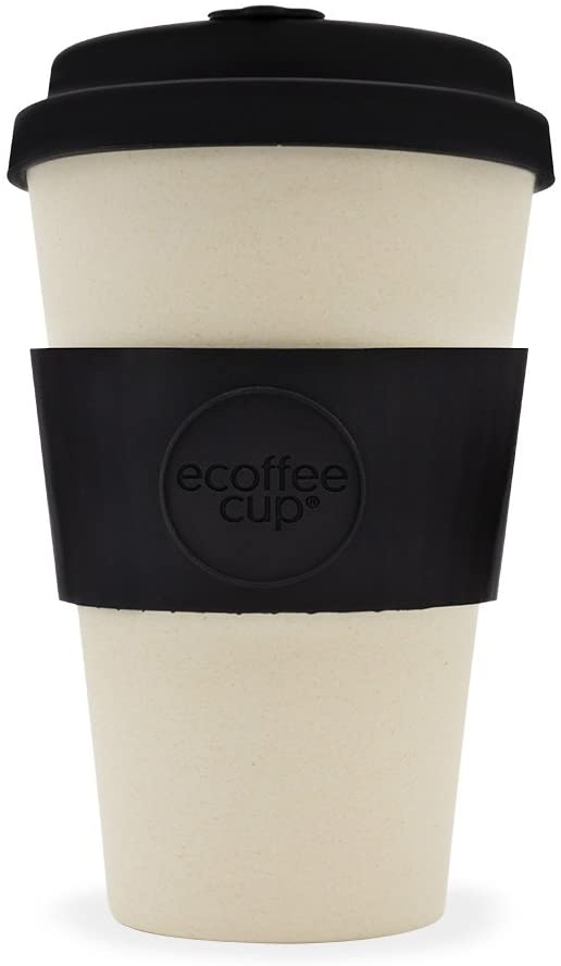 Ecoffee Cup 14oz 400ml Reusable Cups With Silicone Lid Tops, Made With Natural Bamboo Fibre, Black Nature - Gifteasy Online