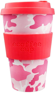 Ecoffee Cup: Miss Wasilla with Hot Pink Silicone 14oz, Reusable and Eco Friendly Takeaway Coffee Cup