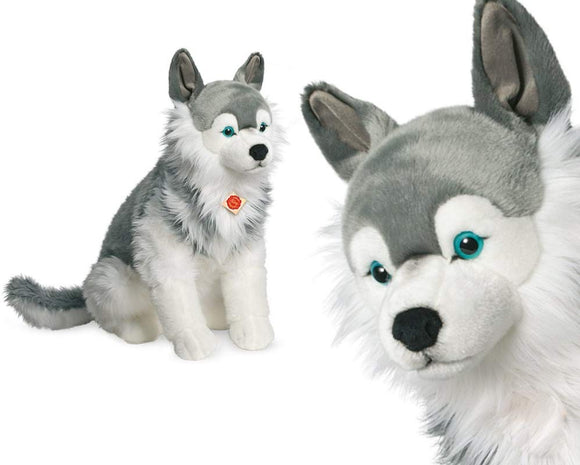 Plush Soft Toy Large Sitting Husky by Teddy Hermann 60cm. 927952