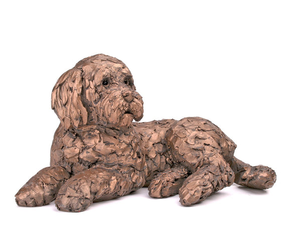 Ozzy the Cockapoo Lying Down Cold Cast Bronze Dog new Frith Design 2017