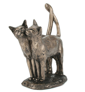 Two's Company Bronze Cat Sculpture by Paul Jenkins
