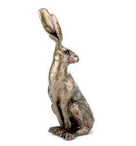 Sitting Hare Small 25cm tall Cold Cast Bronze Sculpture - by Paul Jenkins - Gifteasy Online