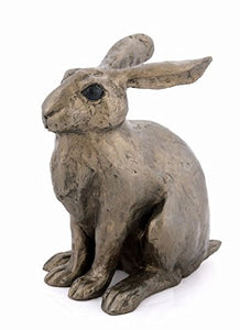 New Lilac - Leveret baby hare sitting - the boxing hares cold cast bronze sculputre from Paul Jenkins, Frith