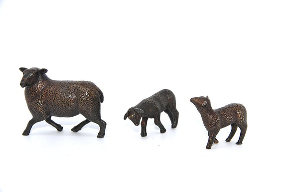 Limited Edition Hot Cast Solid Bronze Sheep and Lambs