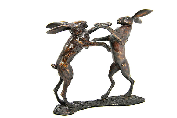 Limited Edition Hot Cast Solid Bronze Boxing Hares