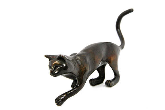Limited Edition Hot Cast Solid Bronze Cat Ready to Pounce
