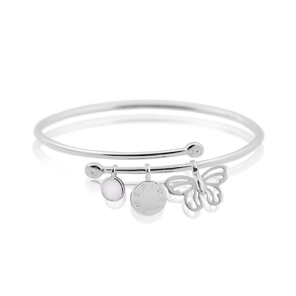Joma Jewellery - Story Bangle - Inspire - Bracelet - Inspire Disc With Butterfly and Pearl