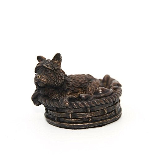 gifteasyonline - Hot Cast Solid Bronze Westie in Basket - Unique Bronze - Unique Bronze