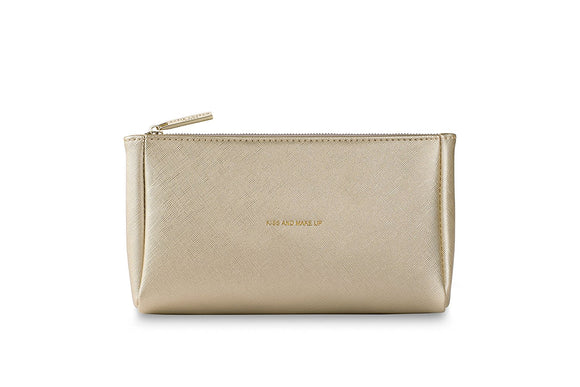 Katie Loxton Make-Up Bag - Gold - Kiss And Make Up