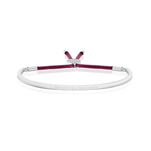 gifteasyonline - Joma Jewellery - Message Bangle - Beautiful Dreamer - Silver with Berry Thread - Joma Jewellery - Bracelet