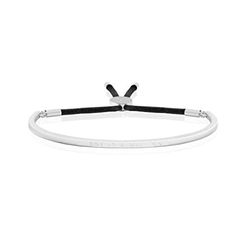 Joma Jewellery - Message Bangle - One In A Million - Silver with Black Thread - Gifteasy Online