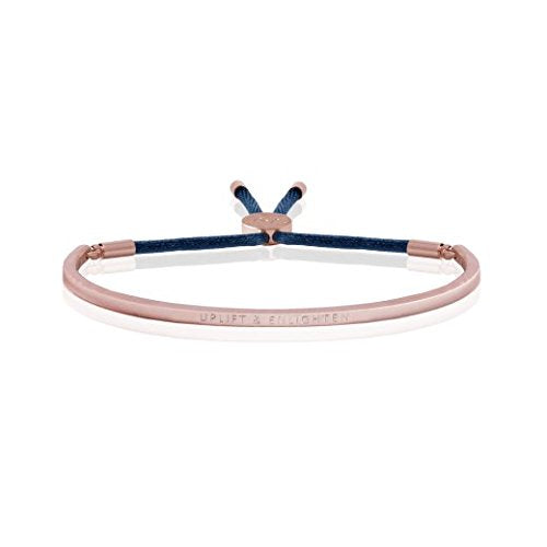 Joma Jewellery - Message Bangle - Uplift & Enlighten - Rose Gold with Navy Thread - Gifteasy Online