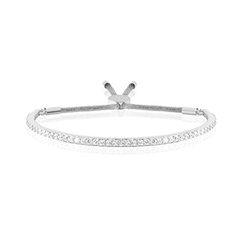 Joma Jewellery - Pave Message Bangle - Silver with Silver Crystals - Gifteasy Online