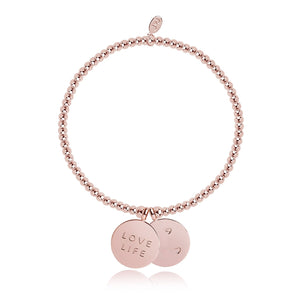 gifteasyonline - Rose Gold Plated Charm Coin Love Life - Joma Jewellery - Joma Jewellery