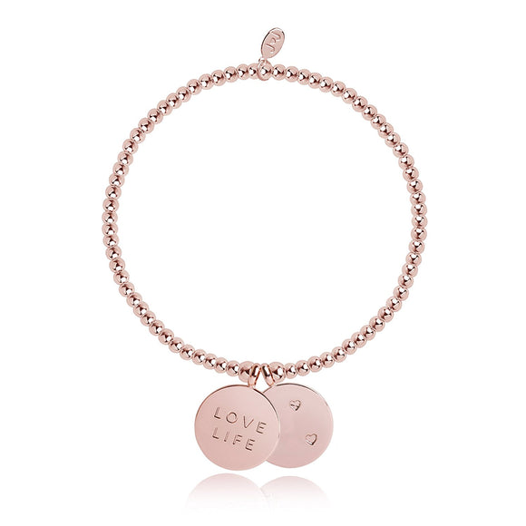 Joma Jewellery Rose Gold Plated Charm Coin Love Life Bracelet