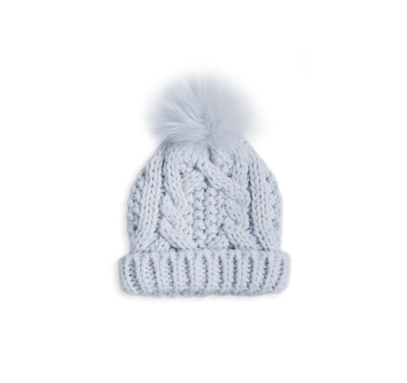 gifteasyonline - CABLE KNIT BABY BOBBLE HAT - pale blue - 15x16cm - Katie Loxton - Baby