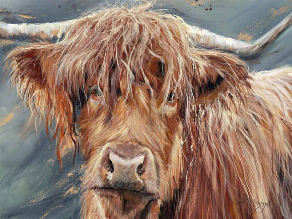 Canvas Cuties Bonny Highland Cattle Canvas 15cm x 20cm