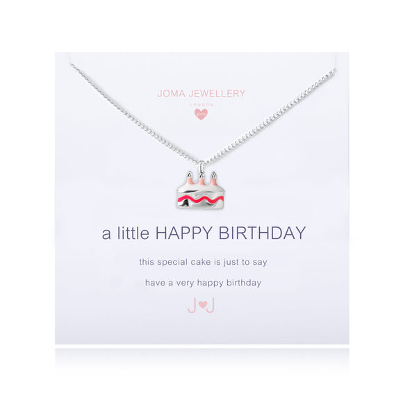 A Little Happy Birthday Necklace with Pink Cake - Girls By Joma Jewellery
