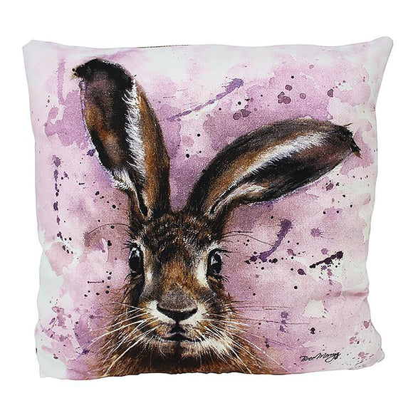 Luxury Horatio Hare Cushion 43cm x 43cm Fibre Filled Beige Backing