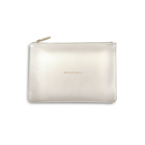 gifteasyonline - Katie Loxton - The Perfect Pouch - Hello Gorgeous - Metallic White with Gift Bag - Katie Loxton - Katie Loxton