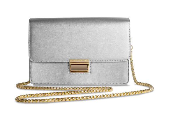 Katie Loxton Anya Box Bag Metallic Silver with Gift Bag - Gifteasy Online