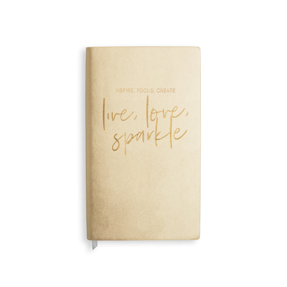 Katie Loxton DATES NOTEBOOK - INSPIRE FOCUS CREATE/LIVE LOVE SPARKLE - metallic rose gold - 11.5x20.5cm