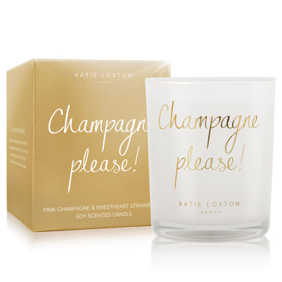 gifteasyonline - METALLIC CANDLE - CHAMPAGNE PLEASE - pink champagne and sweetheart strawberry - 160gr - Katie Loxton - Candle