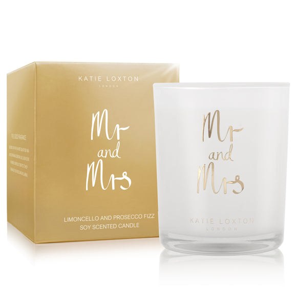 METALLIC CANDLE - MR AND MRS - limoncello and prosecco fizz - 160gr - Gifteasy Online