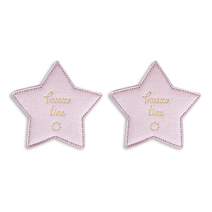 COASTERS - 2 per pack - PROSECCO TIME - metallic pink - 10cmx10.5cm - Gifteasy Online