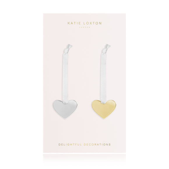 Katie Loxton MINI DECORATION - heart decoration with silky ribbon - silver and gold - set of 2 - Gifteasy Online