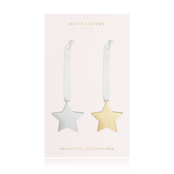 Katie Loxton MINI DECORATION - star decoration with silky ribbon - silver and gold - set of 2 - Gifteasy Online