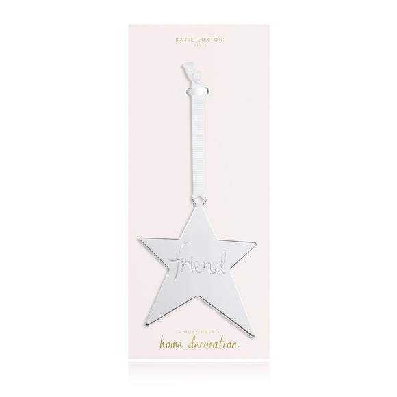 Katie Loxton DECORATION - FRIEND - silver star decoration with silky ribbon