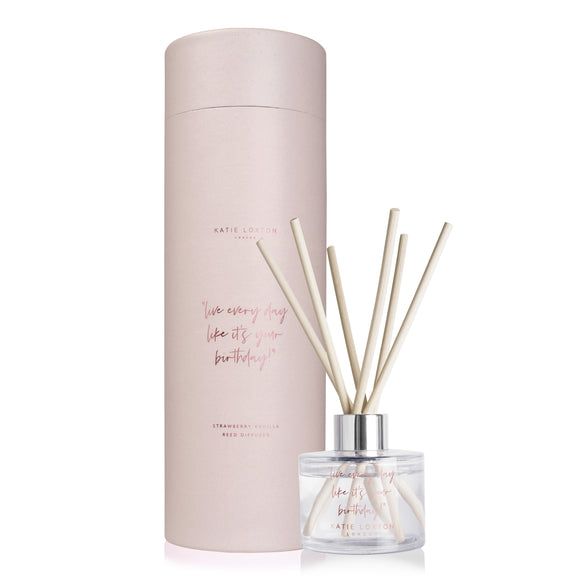 Katie Loxton Live Every Day Like It's Your Birthday Reed Diffuser Strawberry and Vanilla