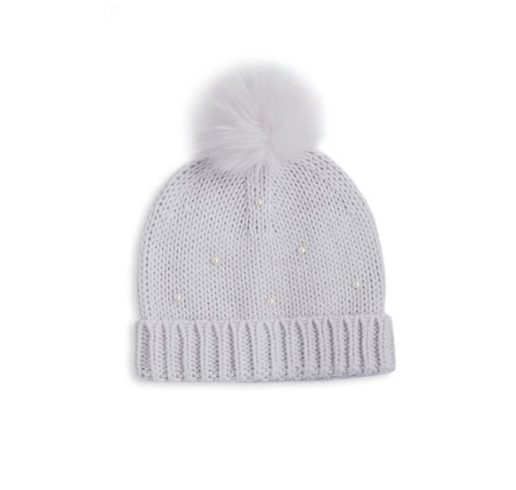 PEARL SCATTERED CABLE KNIT BOBBLE HAT - pale grey  21x20cm