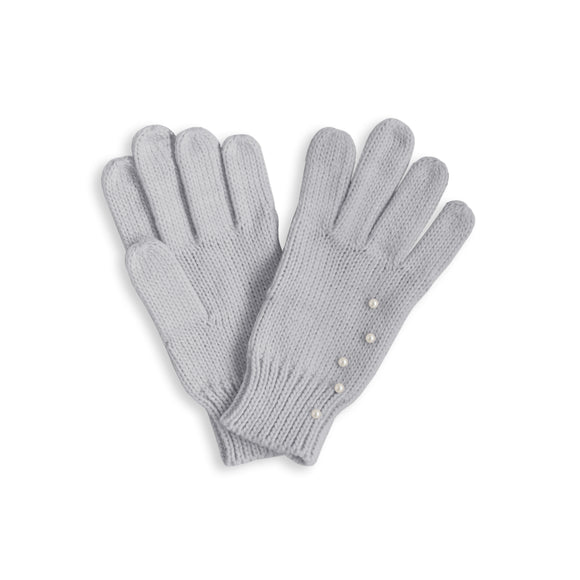 Katie Loxton  PEARL SCATTERED CABLE KNIT GLOVES - pale grey medium fit