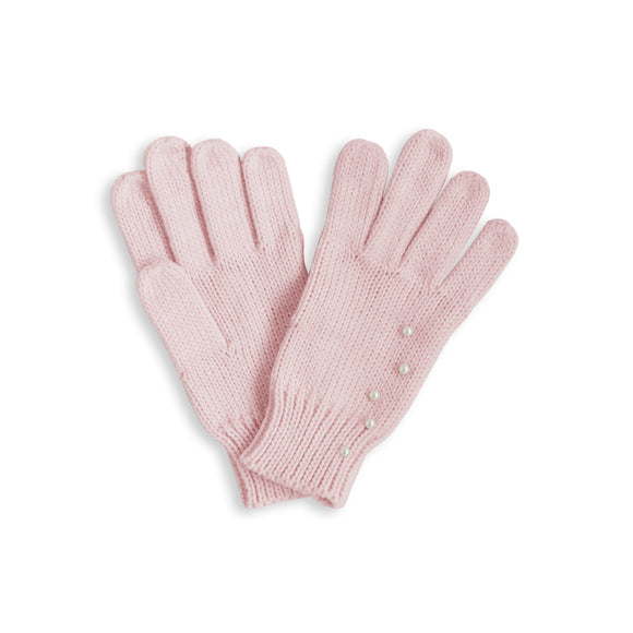 Katie Loxton  PEARL SCATTERED CABLE KNIT GLOVES - pale pink  medium fit