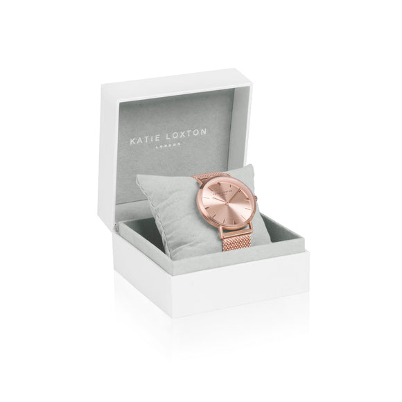 gifteasyonline - Katie Loxton CECE WATCH - rose gold plated chain mail strap - Katie Loxton - watch