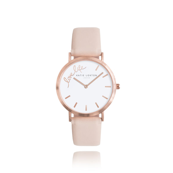 Katie Loxton MAGICAL MOMENTS WATCH - LOVE LIFE rose gold plated - blush pink PU strap
