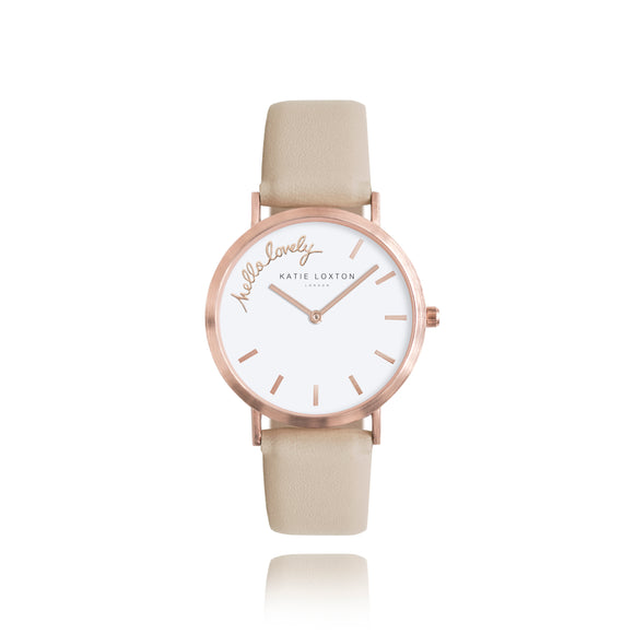 Katie Loxton MAGICAL MOMENTS WATCH - HELLO LOVELY rose gold plated - taupe PU strap