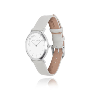 Katie Loxton MAGICAL MOMENTS WATCH - TIME TO SHINE silver plated - soft grey PU strap