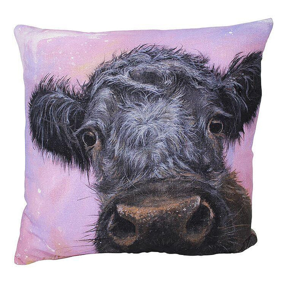 gifteasyonline - Bree Merryn Maggie Cow Cushion  Grey Tweed Backing 43cm - Bree Merryn - Cushion